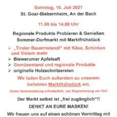 Am Sa, 10. Juli: Dorfmarkt in Biebernheim
